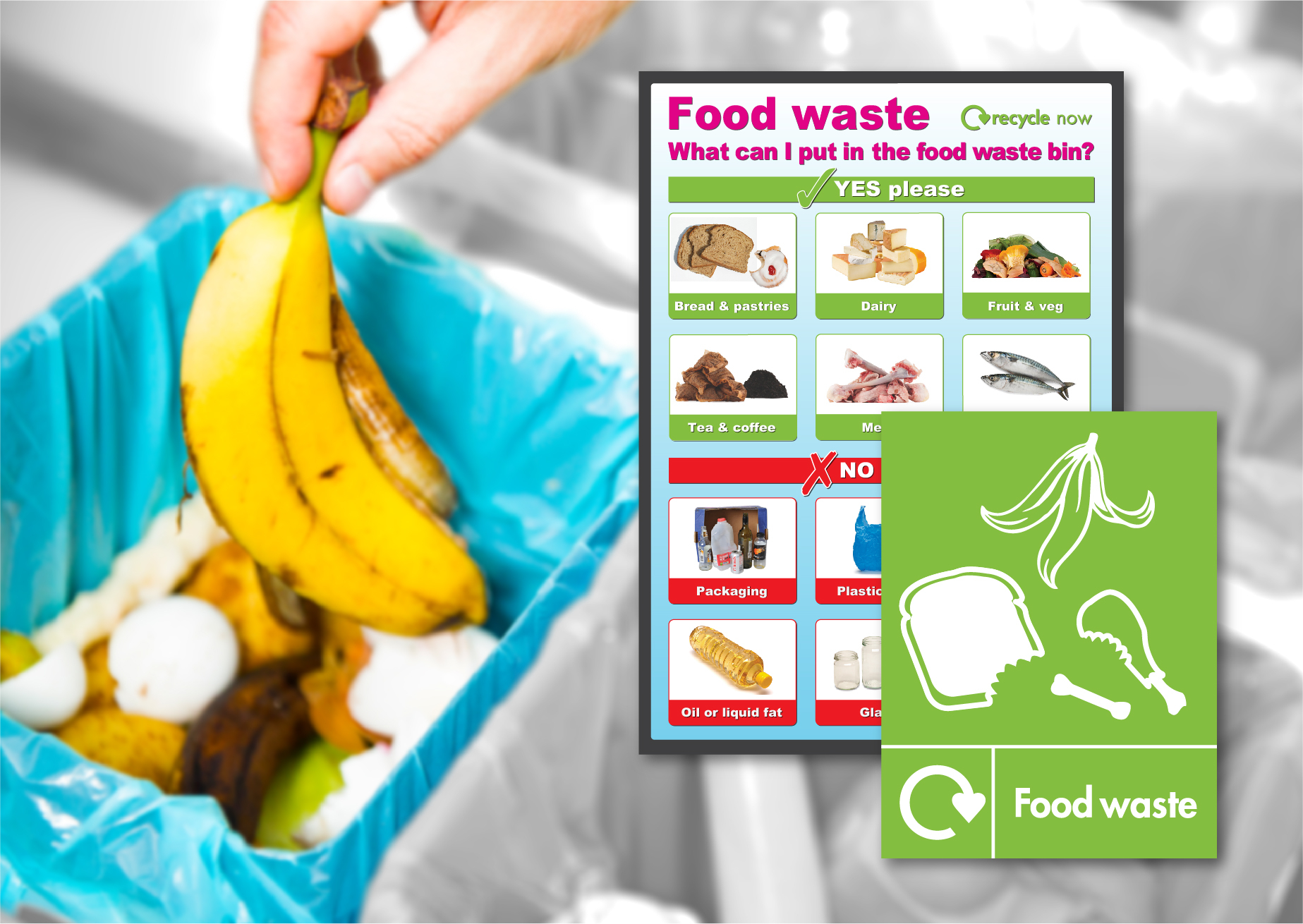 Food Waste and Recycling Signs