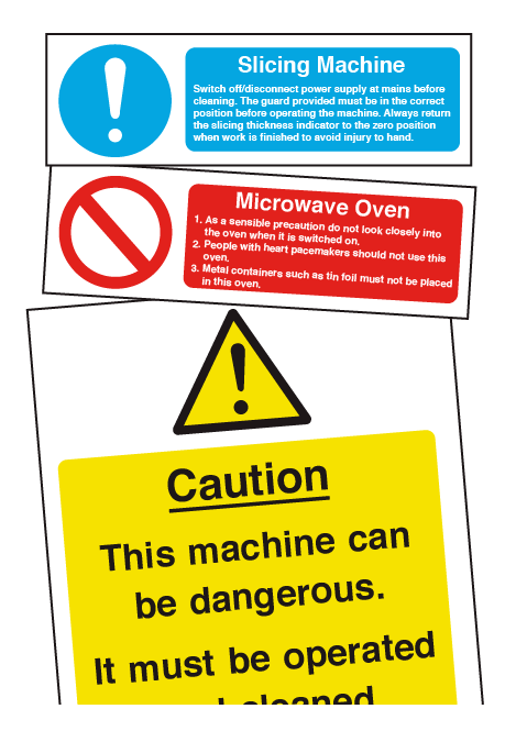 Catering Equipment Safety Signs & Cleaning Notices