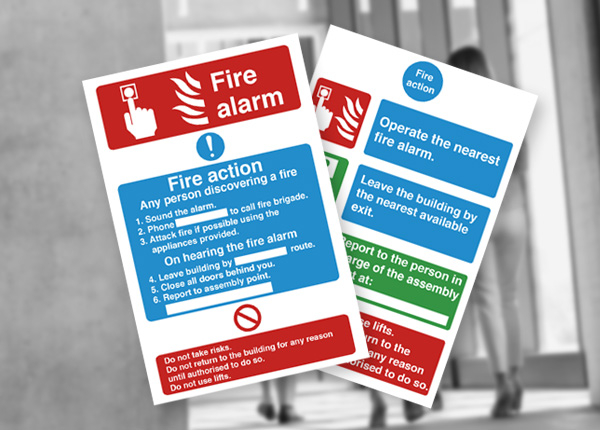 Fire action safety signs
