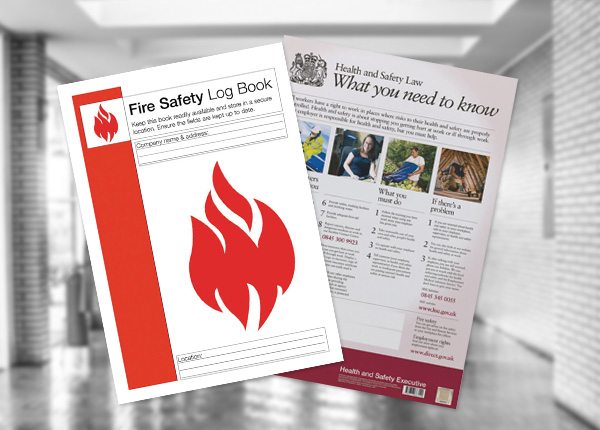 Fire safety posters and log book
