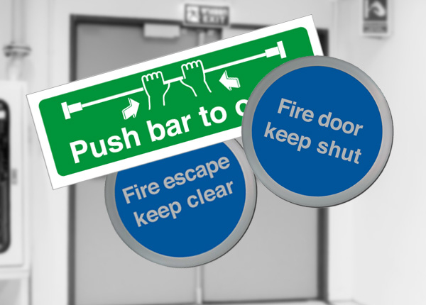 Fire door safety signs