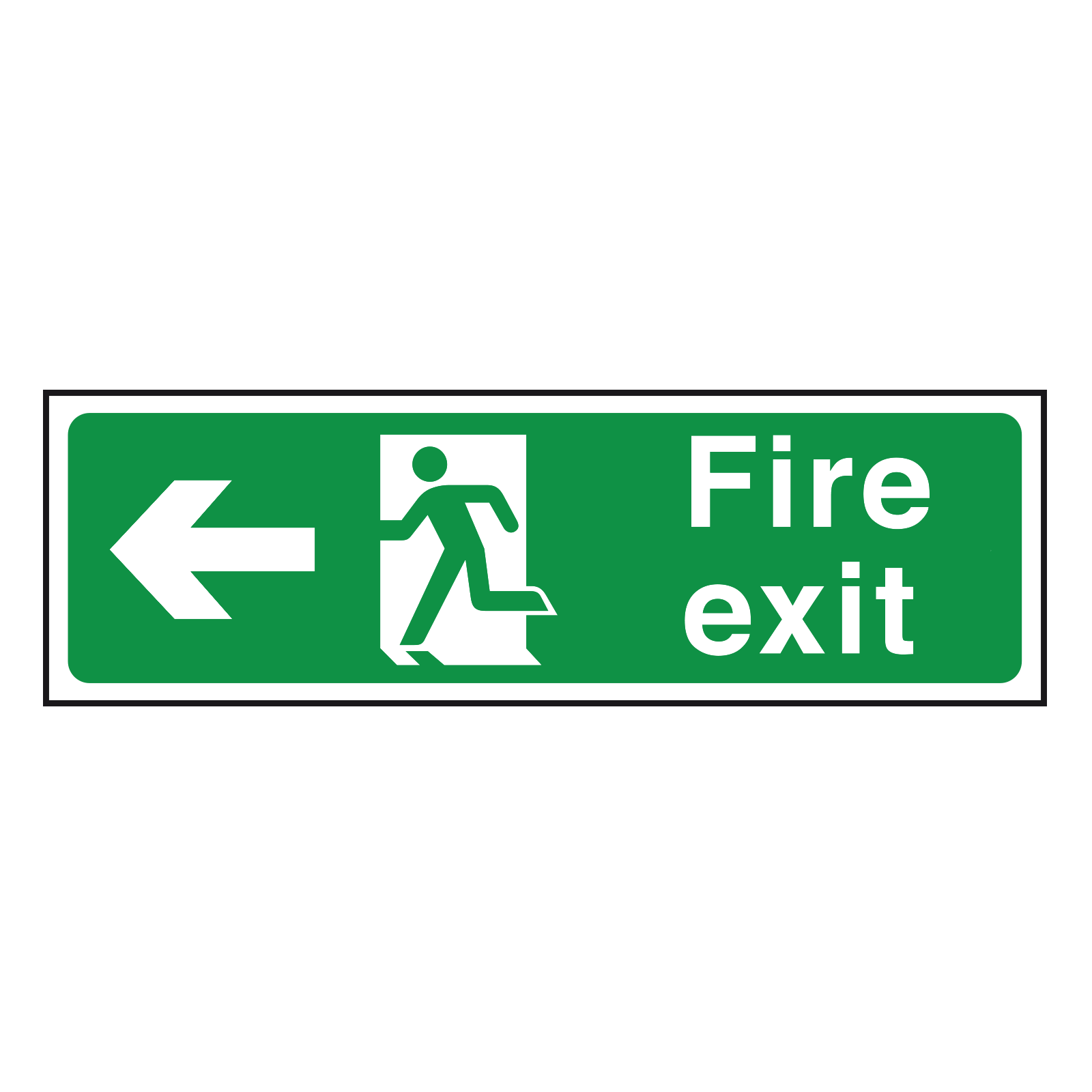 Arrow Left British Standard Fire Exit Sign
