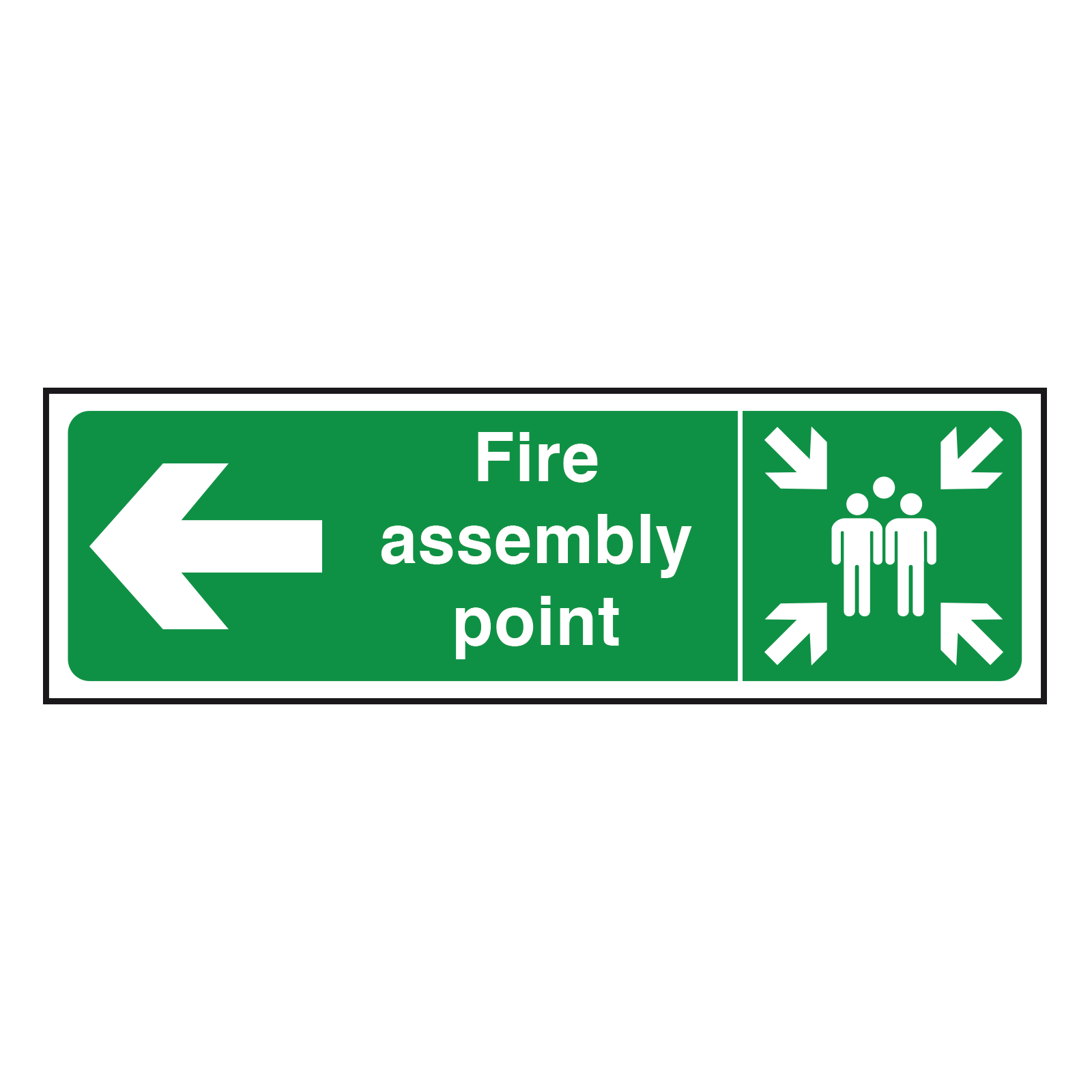 Arrow Left Fire Assembly Point Sign