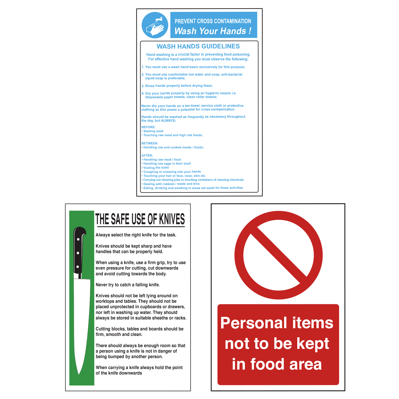 Food Preparation Catering Safety Sign Pack