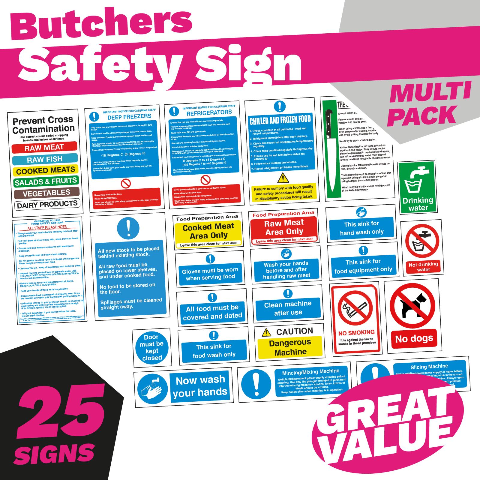 Butchers Kitchen Safety Sign Pack