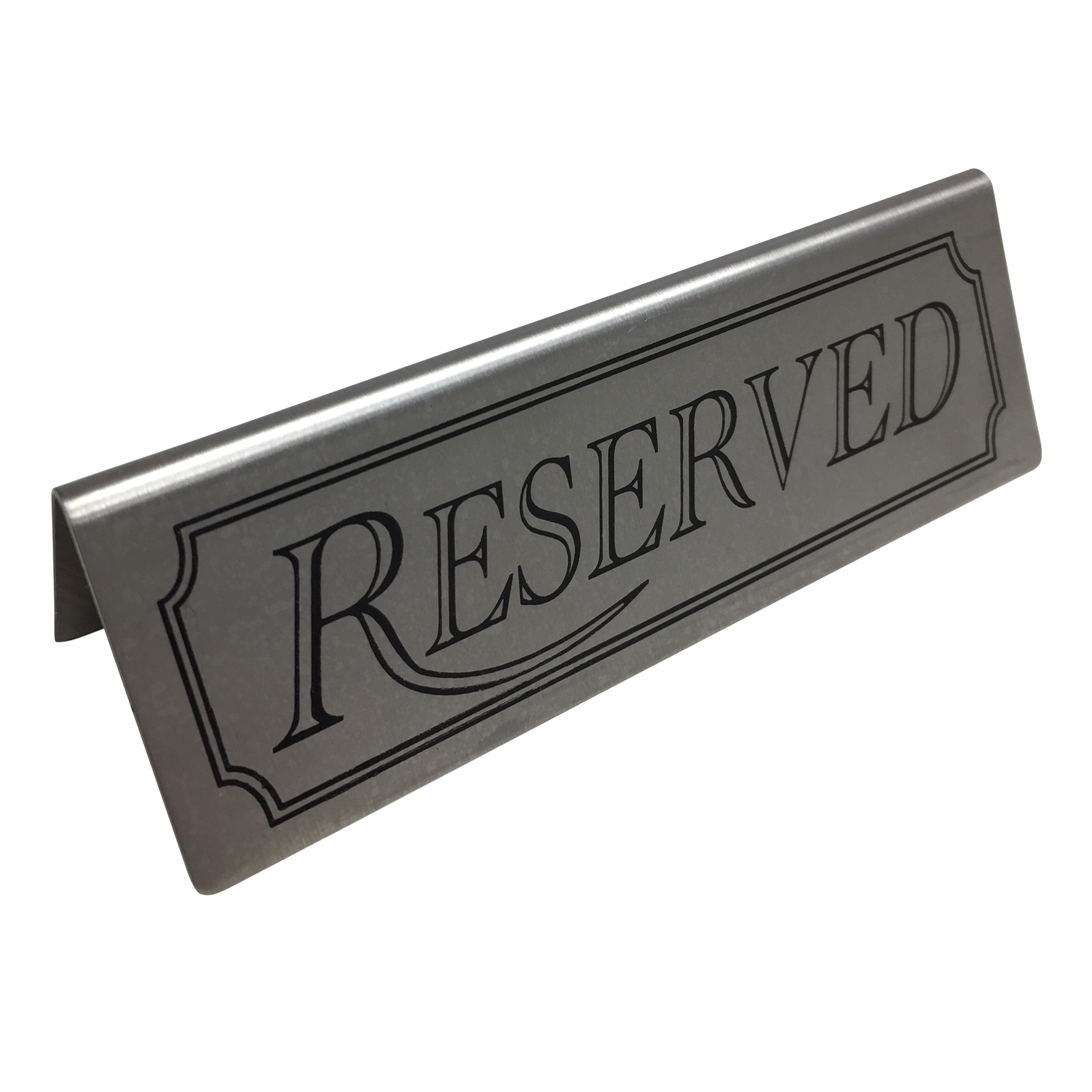 Stainless Steel Reserved Table Sign: Stainless Steel Reserved Table Tent Notice