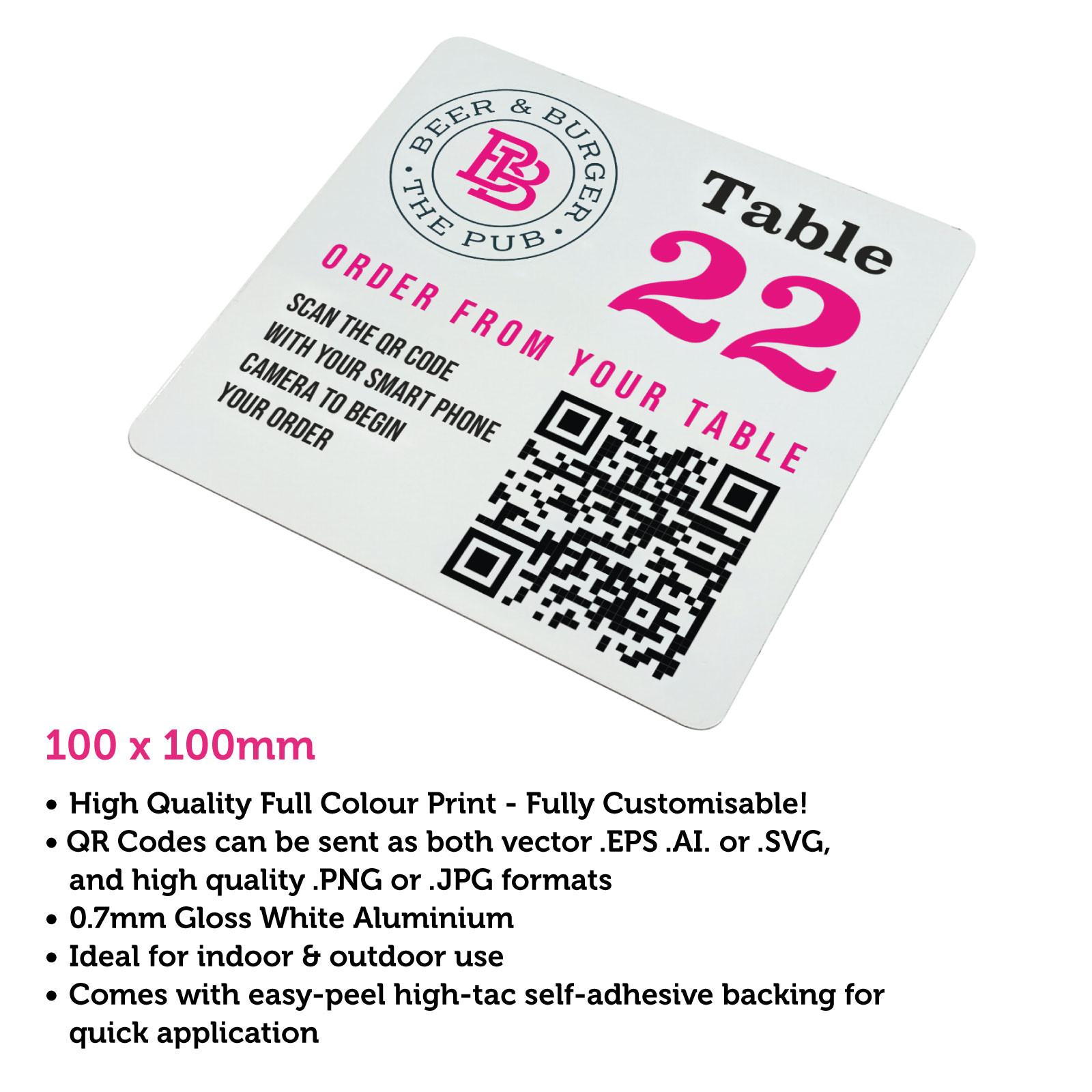 QR Code Full Colour Table Number 100 x 100mm