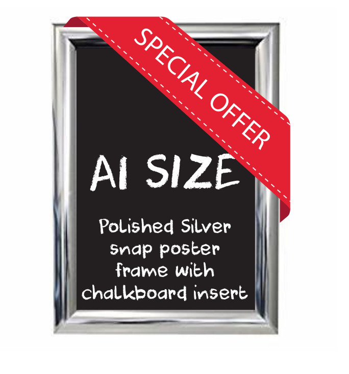 A1 size Polished Silver Snap poster frame with Chalkboard insert
