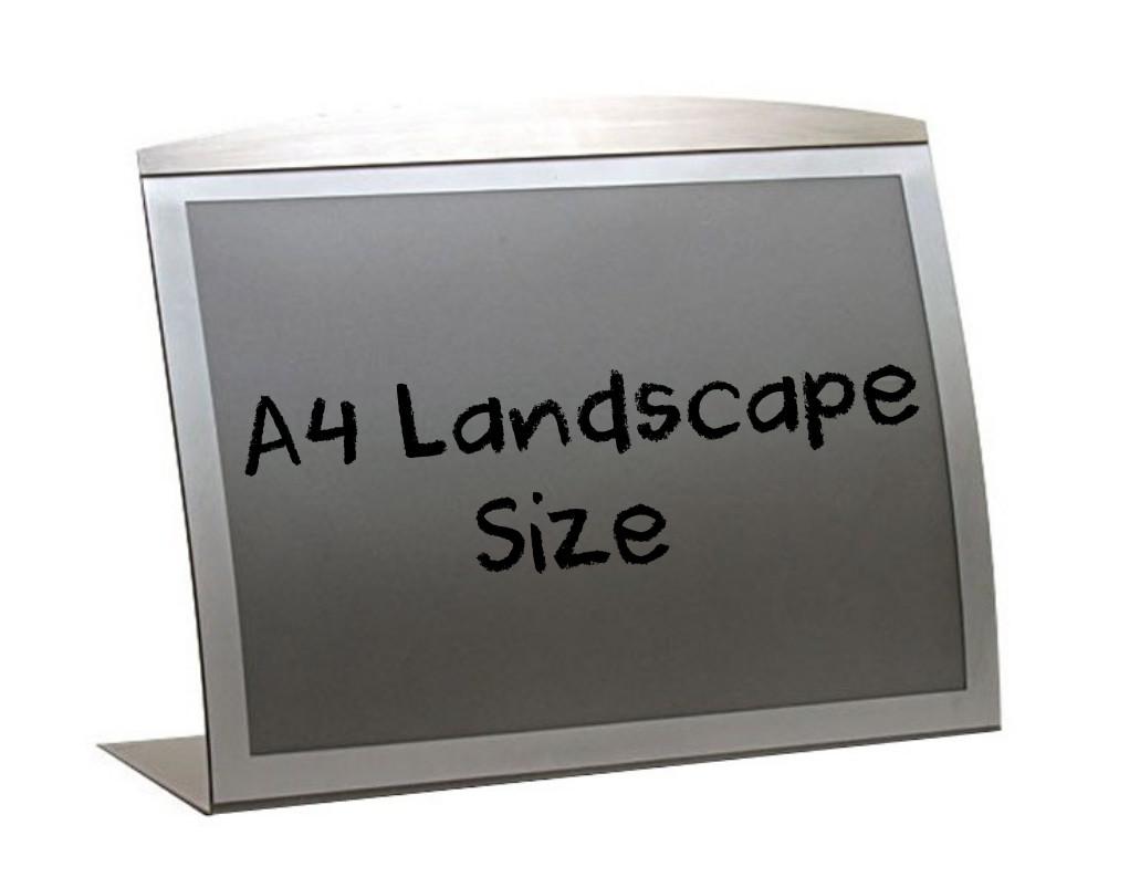 A4 Landscape silver curved satellite countertop menu poster holder.