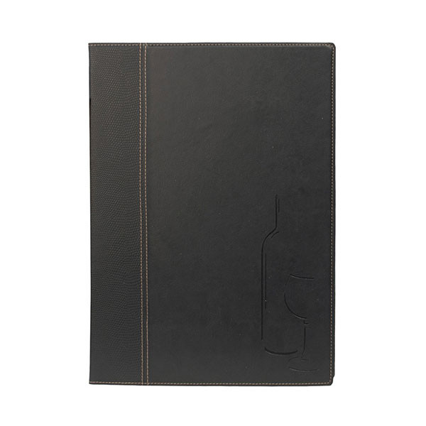 Black Leather Style A4 Restaurant Wine Menu Cover Plus 2