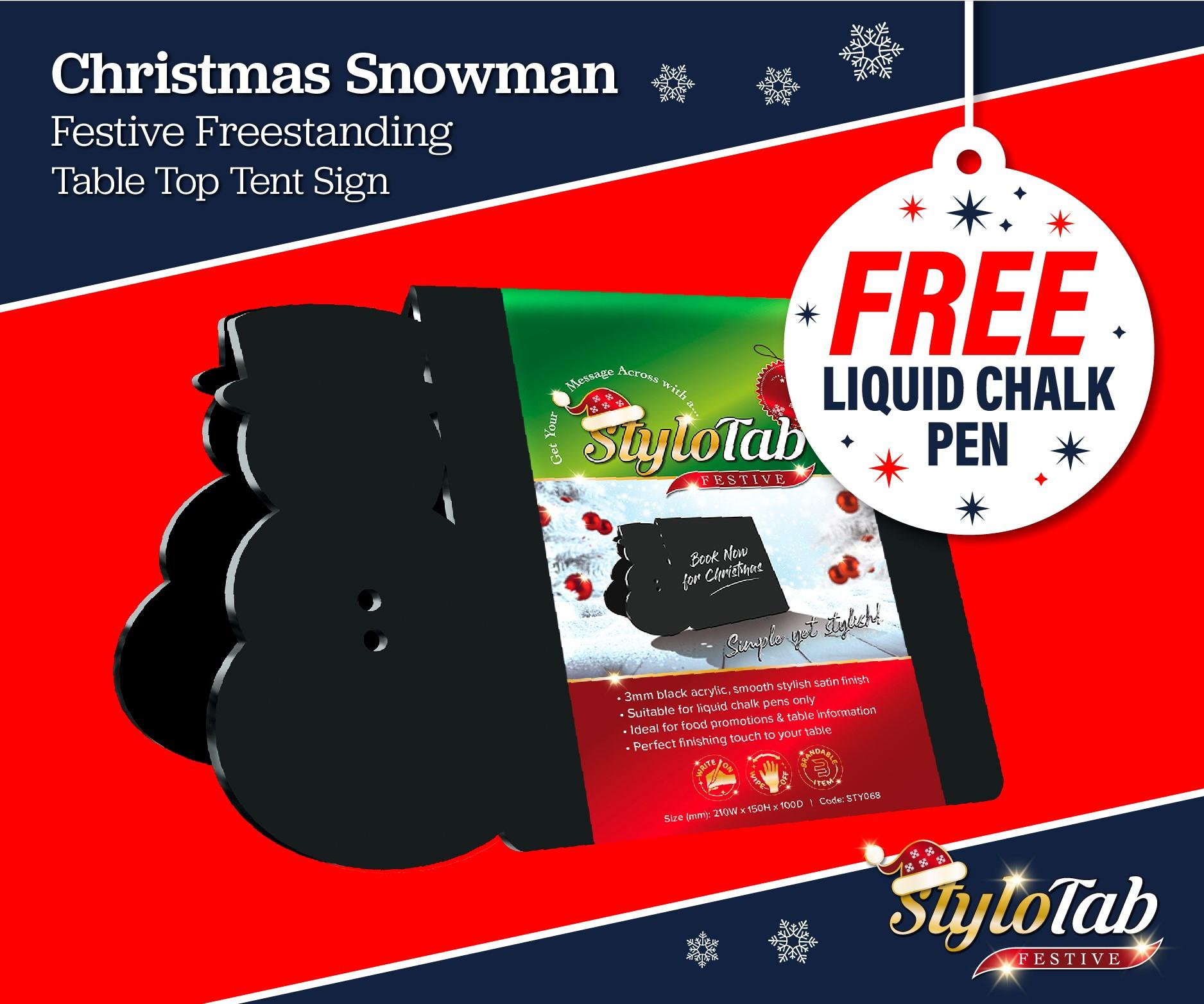 Snowman stylotab Festive Freestanding table top tent sign