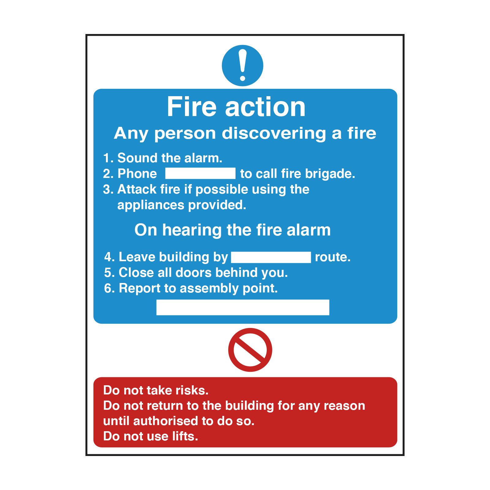 Detailed Premises Fire Action Safety Sign