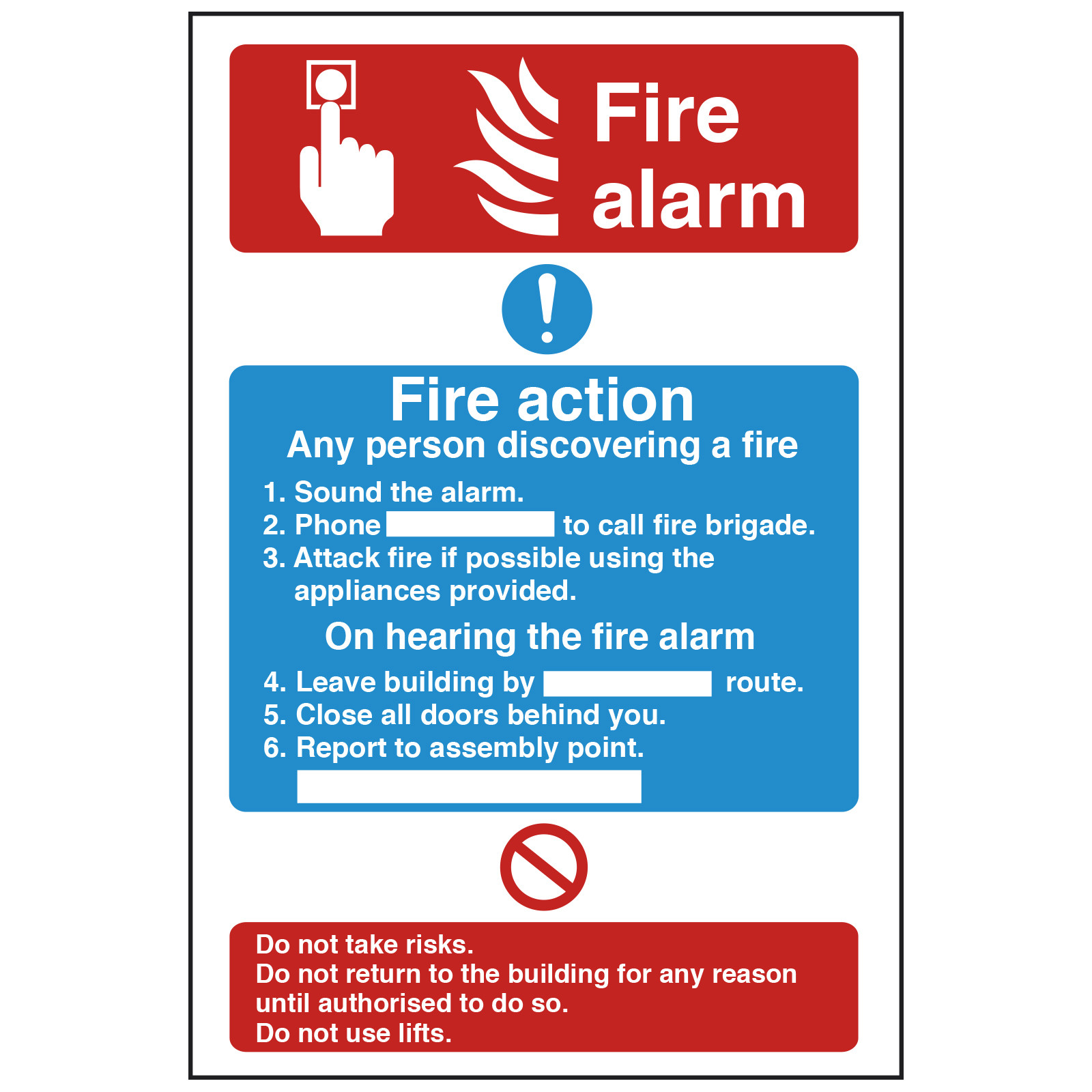Fire Alarm - Dual Fire Action Safety Sign