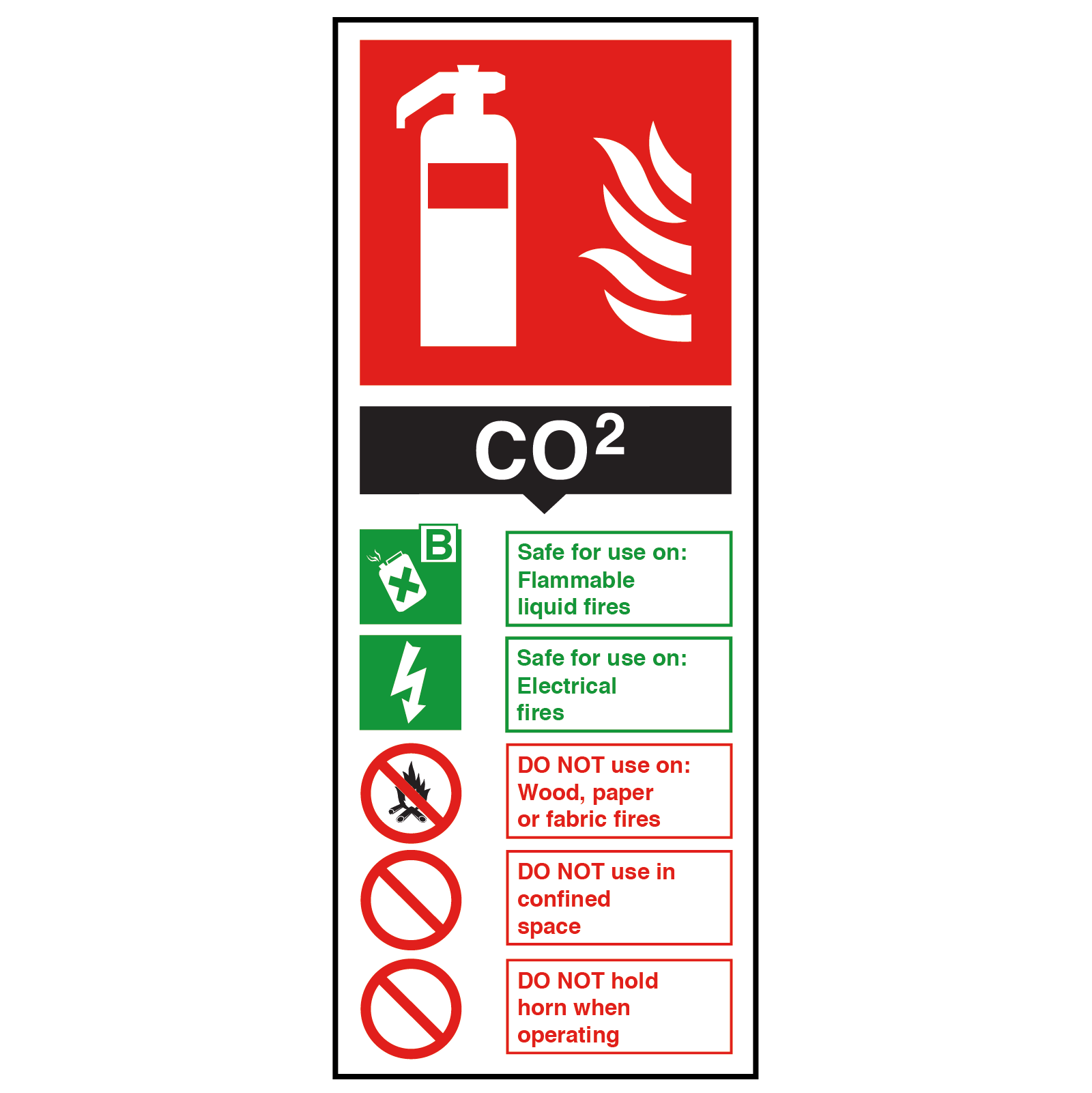 CO2 Fire Extinguisher Safety Sign