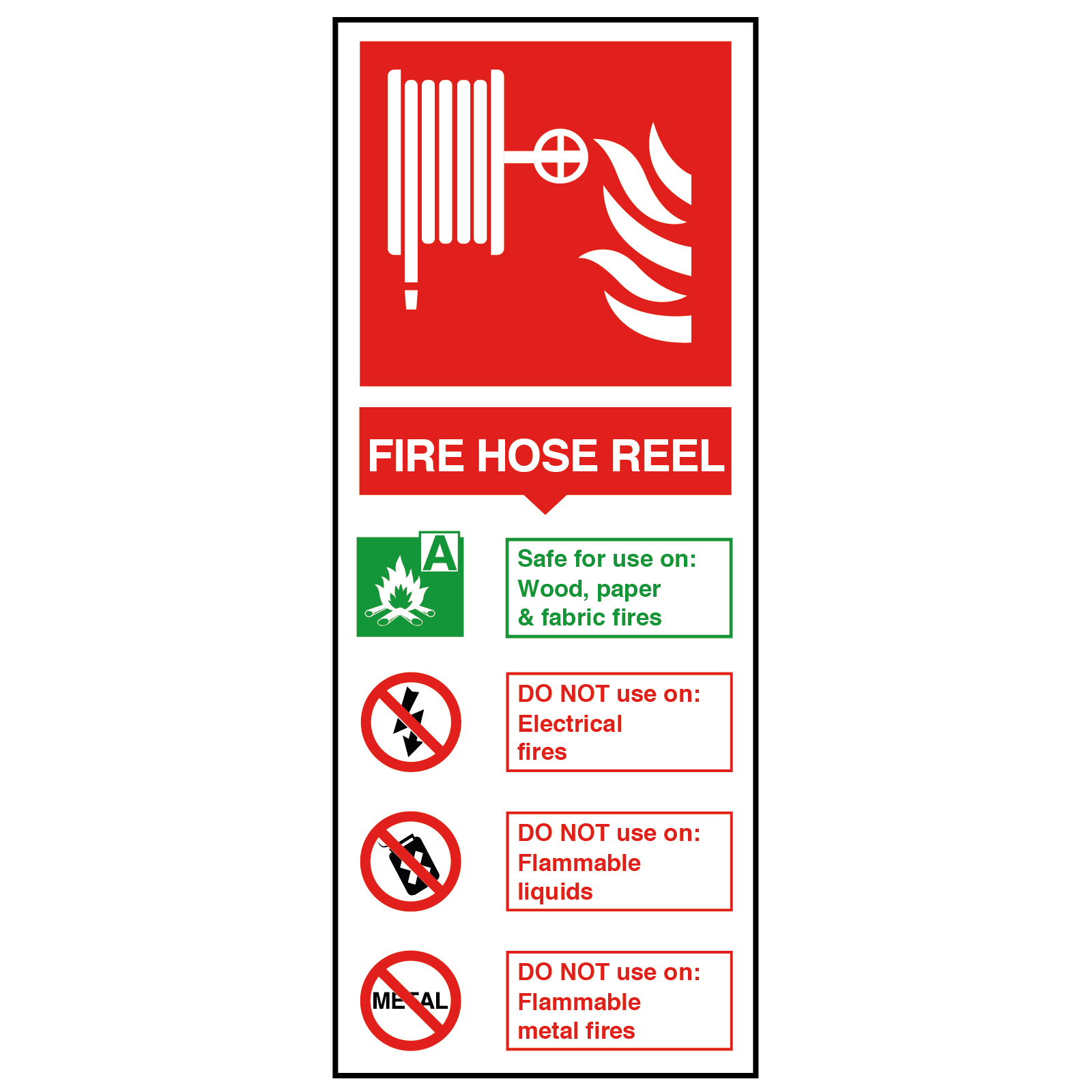 Fire Hose Reel Fire Extinguisher Safety Sign