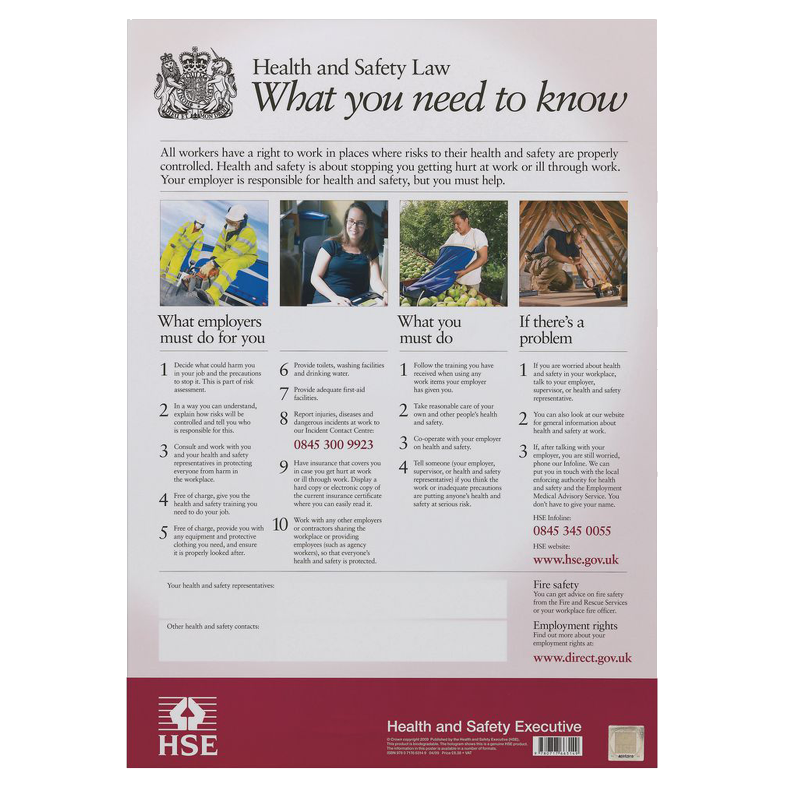 A3 size HSE UK Health and Safety Law Poster