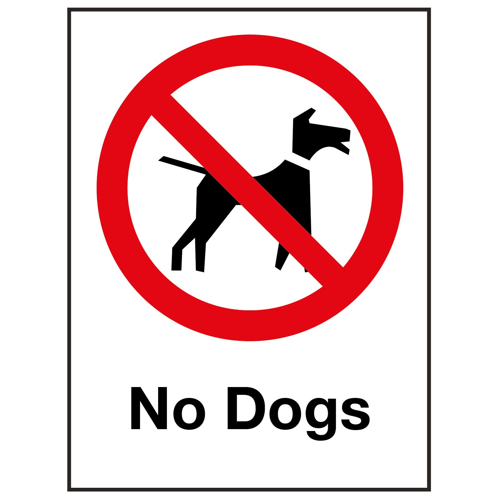 External No Dogs Sign