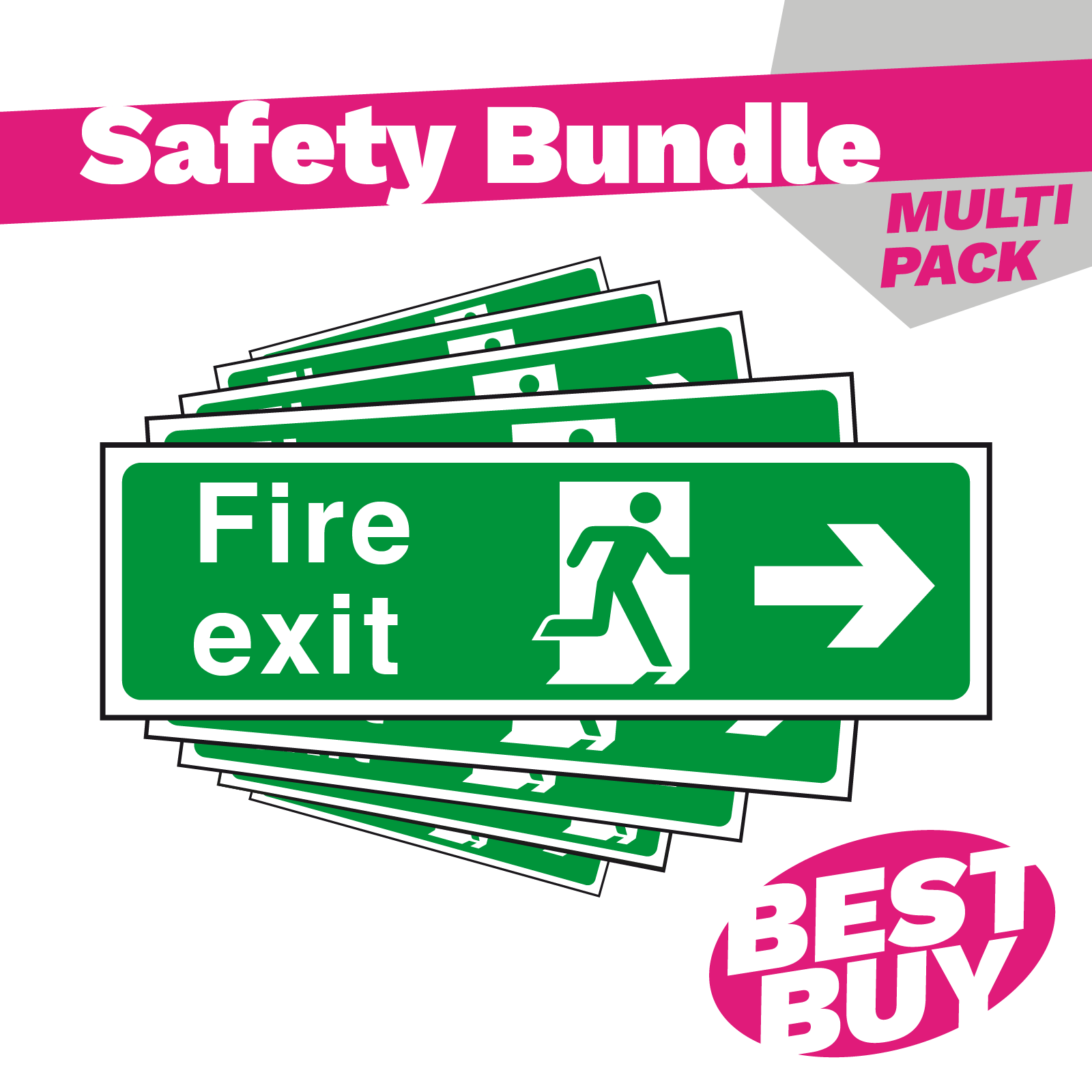 Arrow Right - British Standard Fire Exit Sign - Bundle Pack
