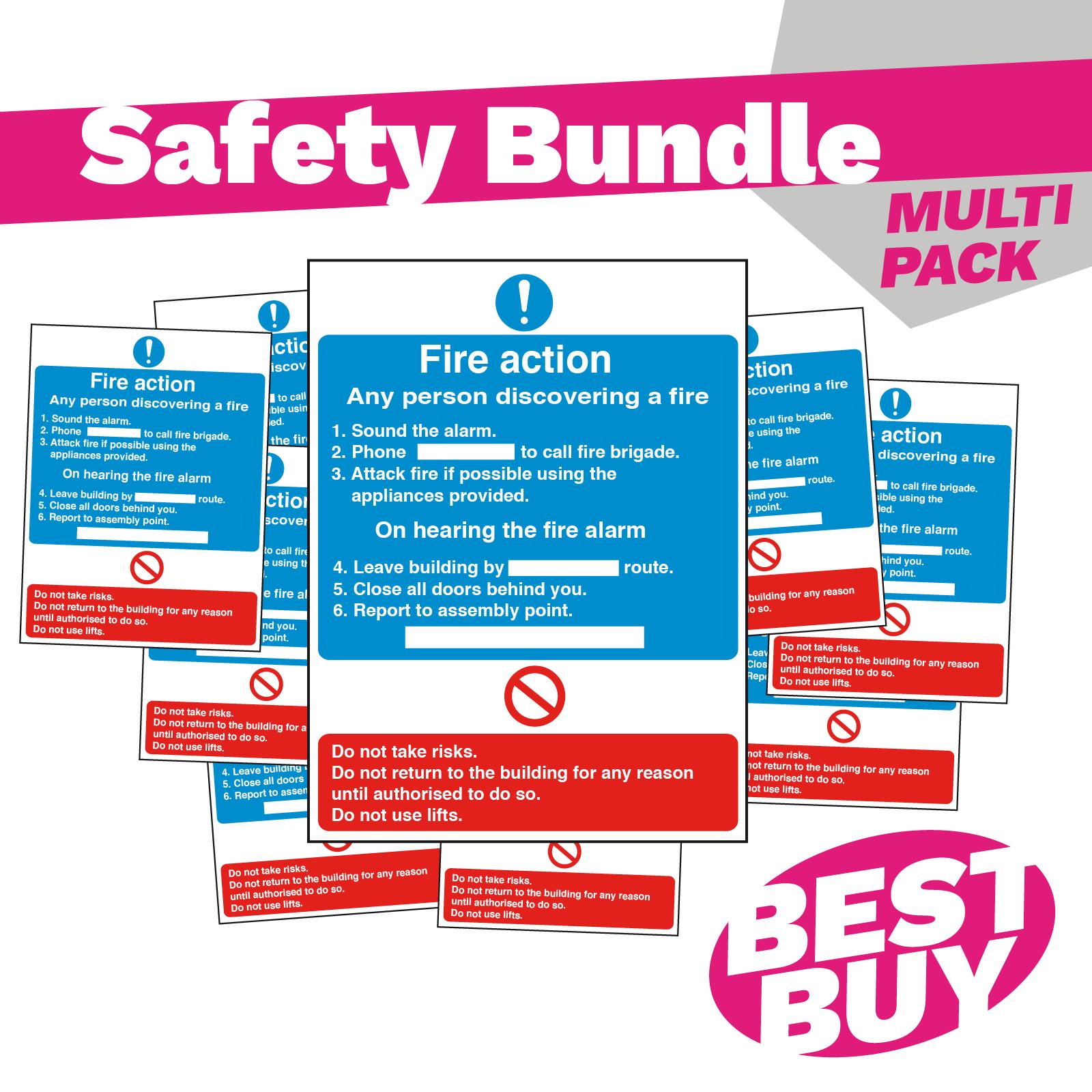 Detailed Premises Fire Action Safety Sign - Bundle Pack