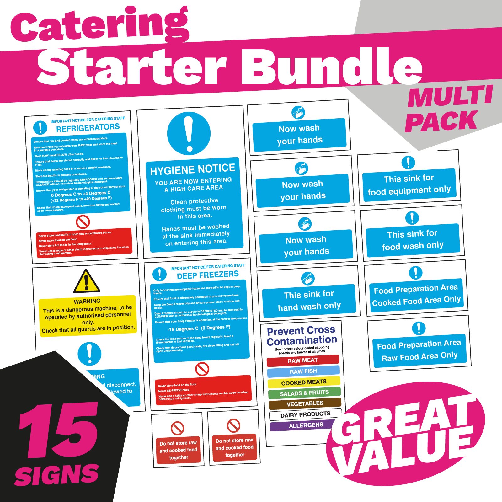 Kitchen Food Hygiene & Safety Sign Bundle. 15 Essential Signs