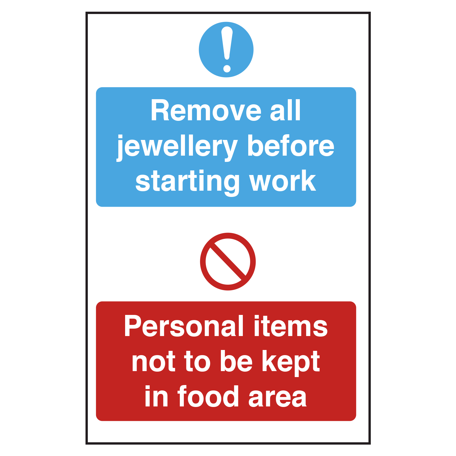 Remove all jewellery before starting work catering notice