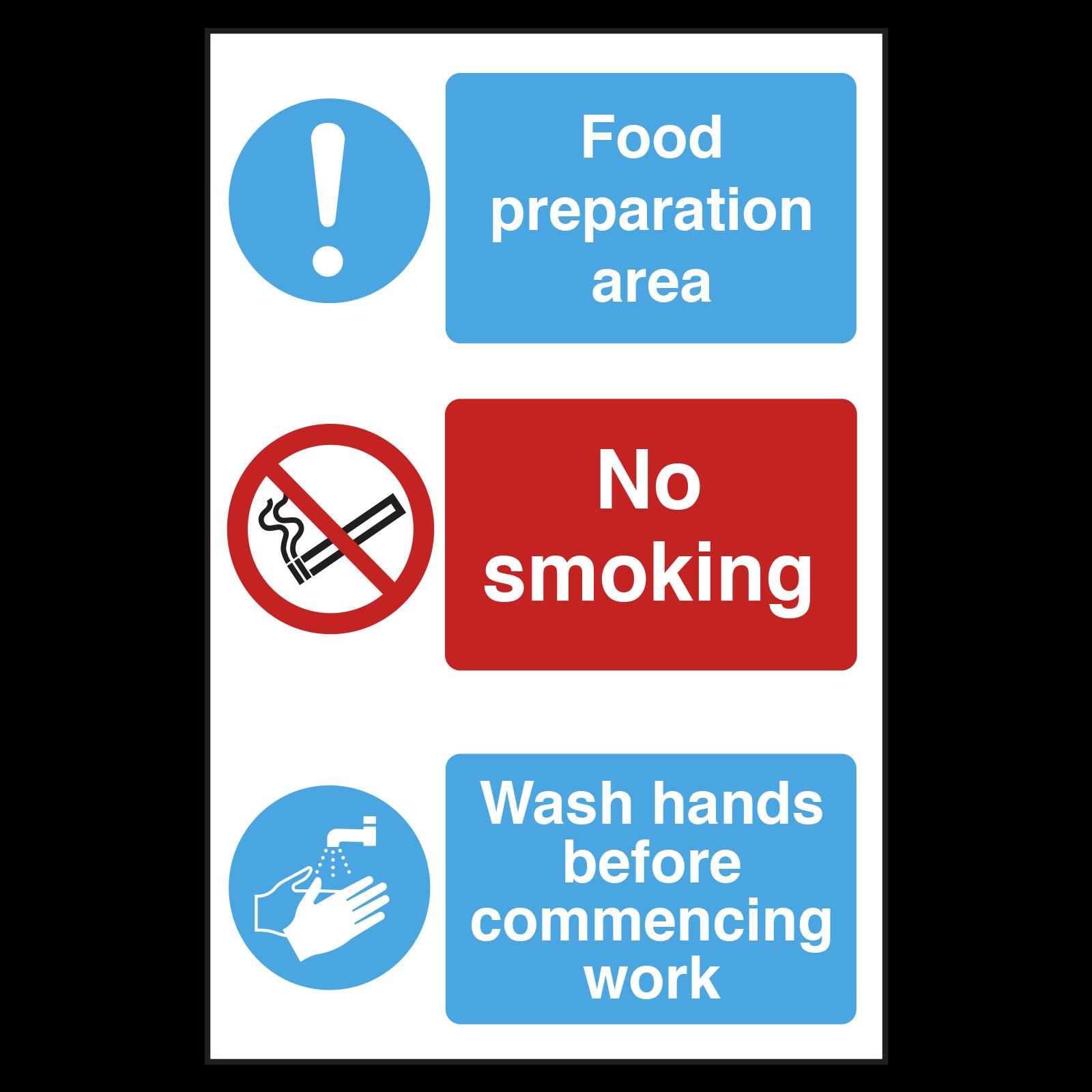 Food Preparation Area, No Smoking, Wash Hands Sign