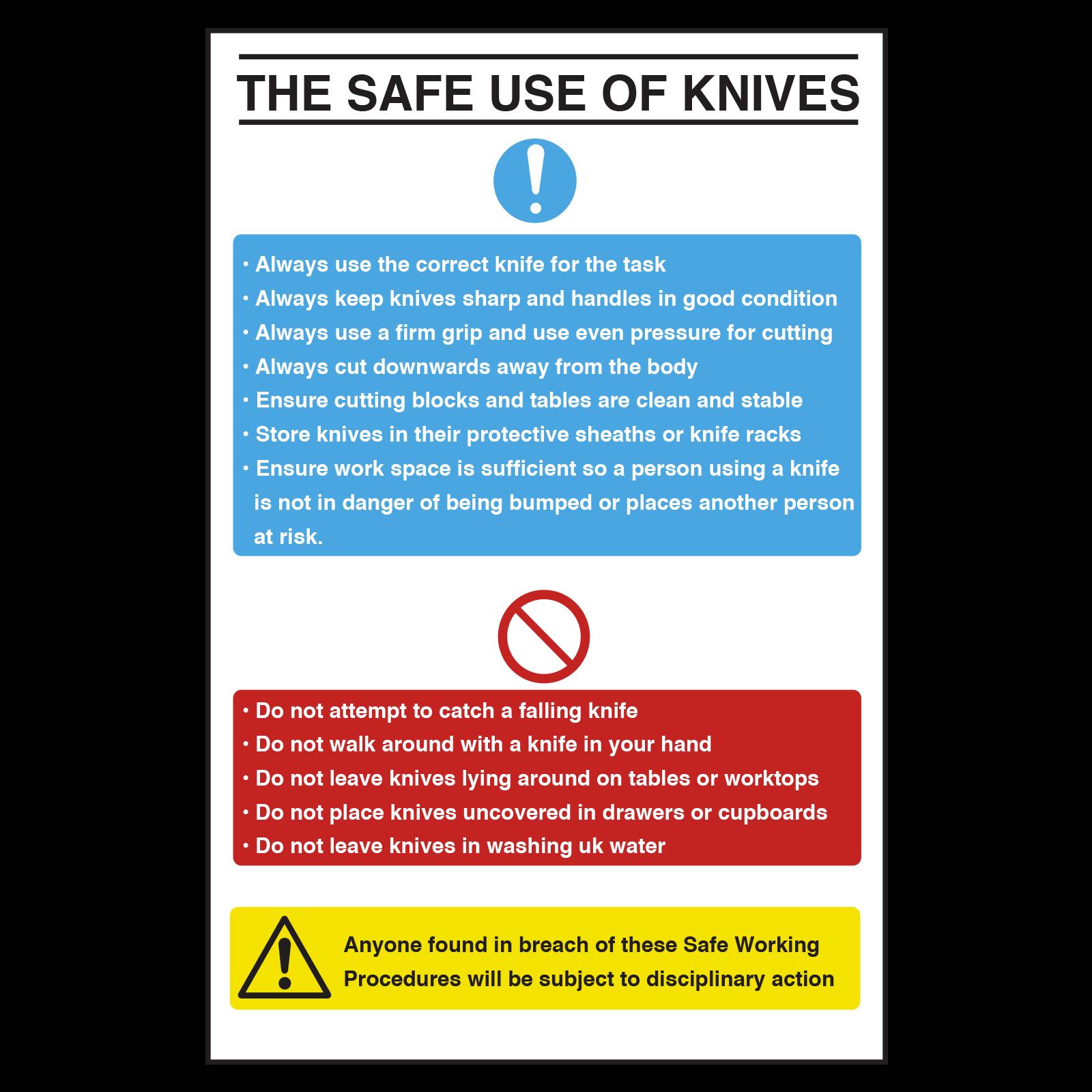 Safe Use of Knives Notice