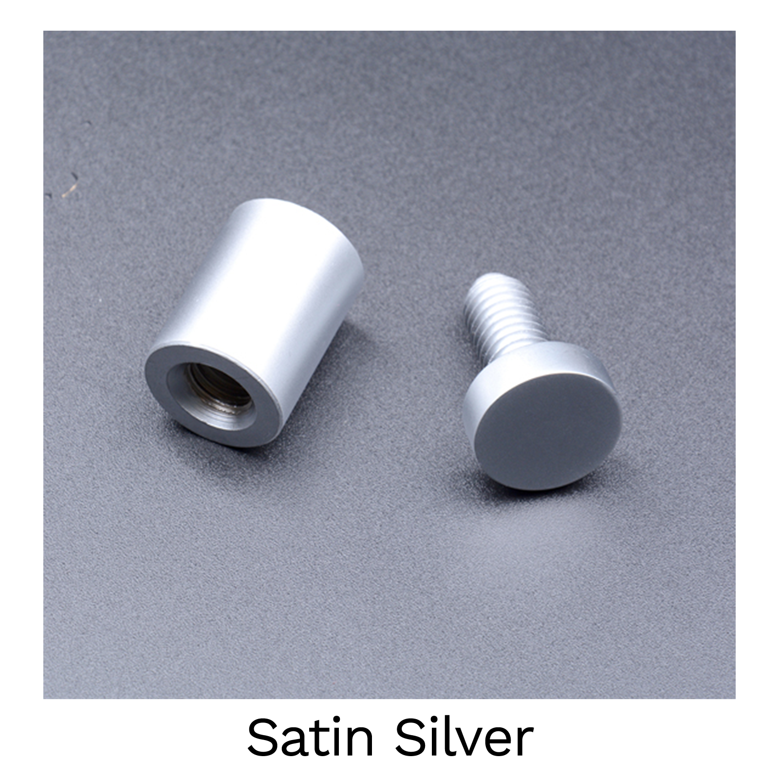 Satin Silver - 13mm Stand Off Wall Fixings - Pack of 4