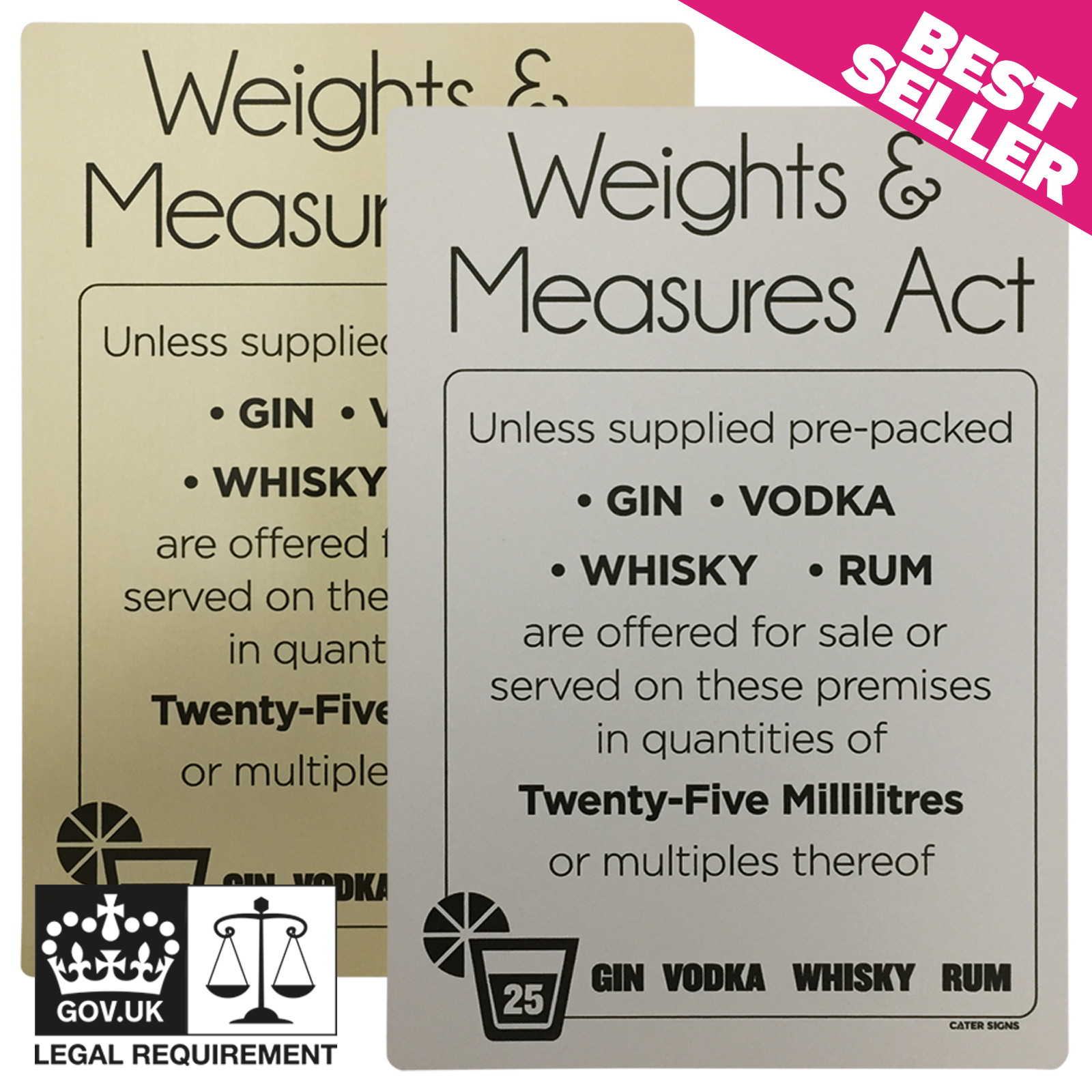 Matt Silver - 25ml Weights & Measures Act  -  Spirit Measures Notice
