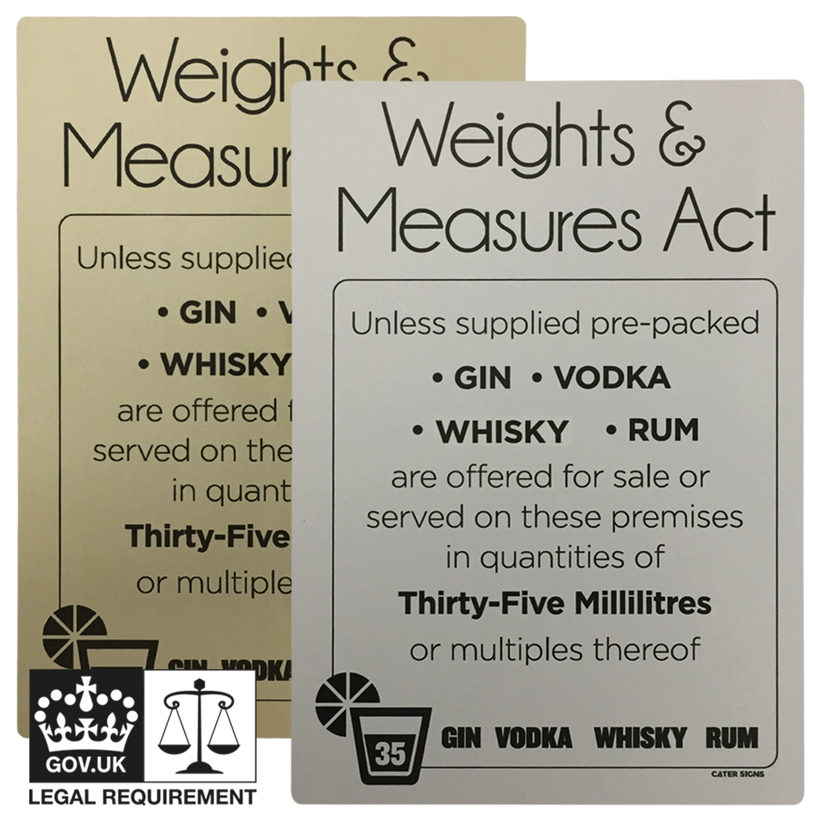 Matt Silver - 35ml Weights & Measures Act - Spirit Measures Bar Notice