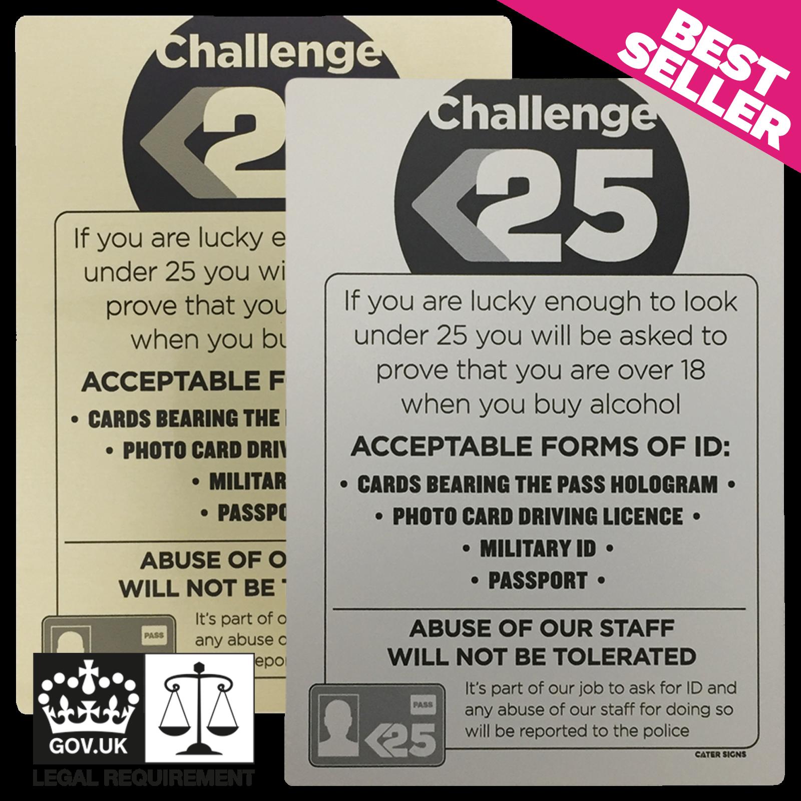 Challenge 25 Sign - Under Age Drinking - Pub & Bar Notice