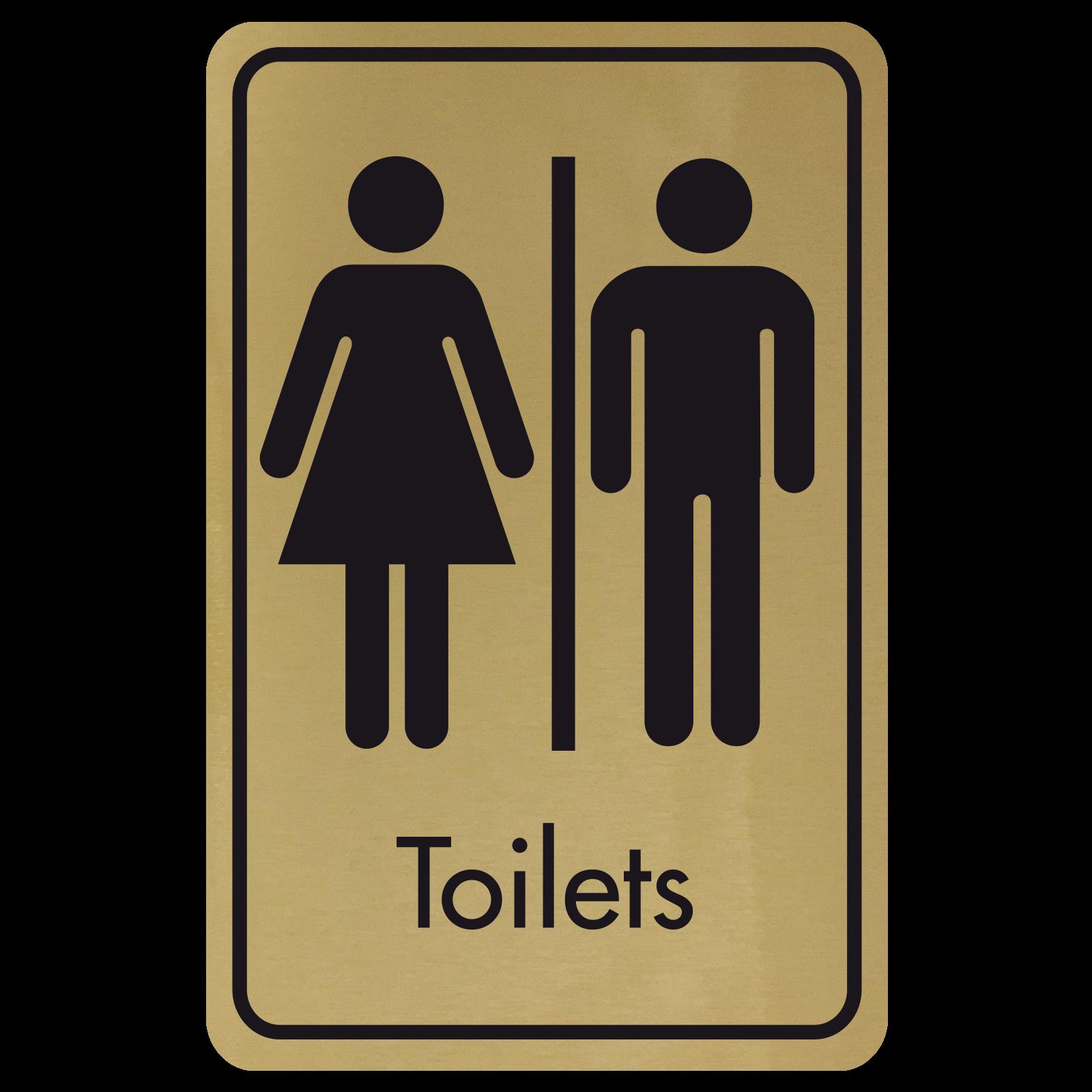 Large Toilets Door Sign - Black on Gold