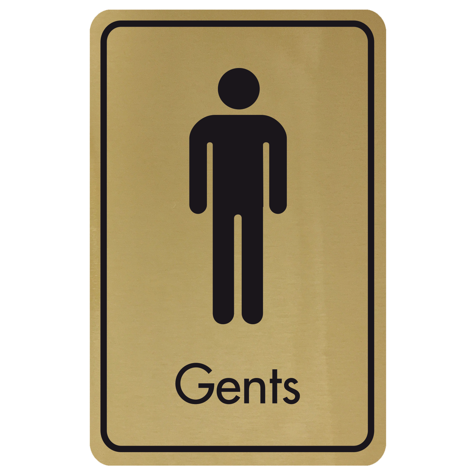 Large Gents Door Sign - Black on Gold