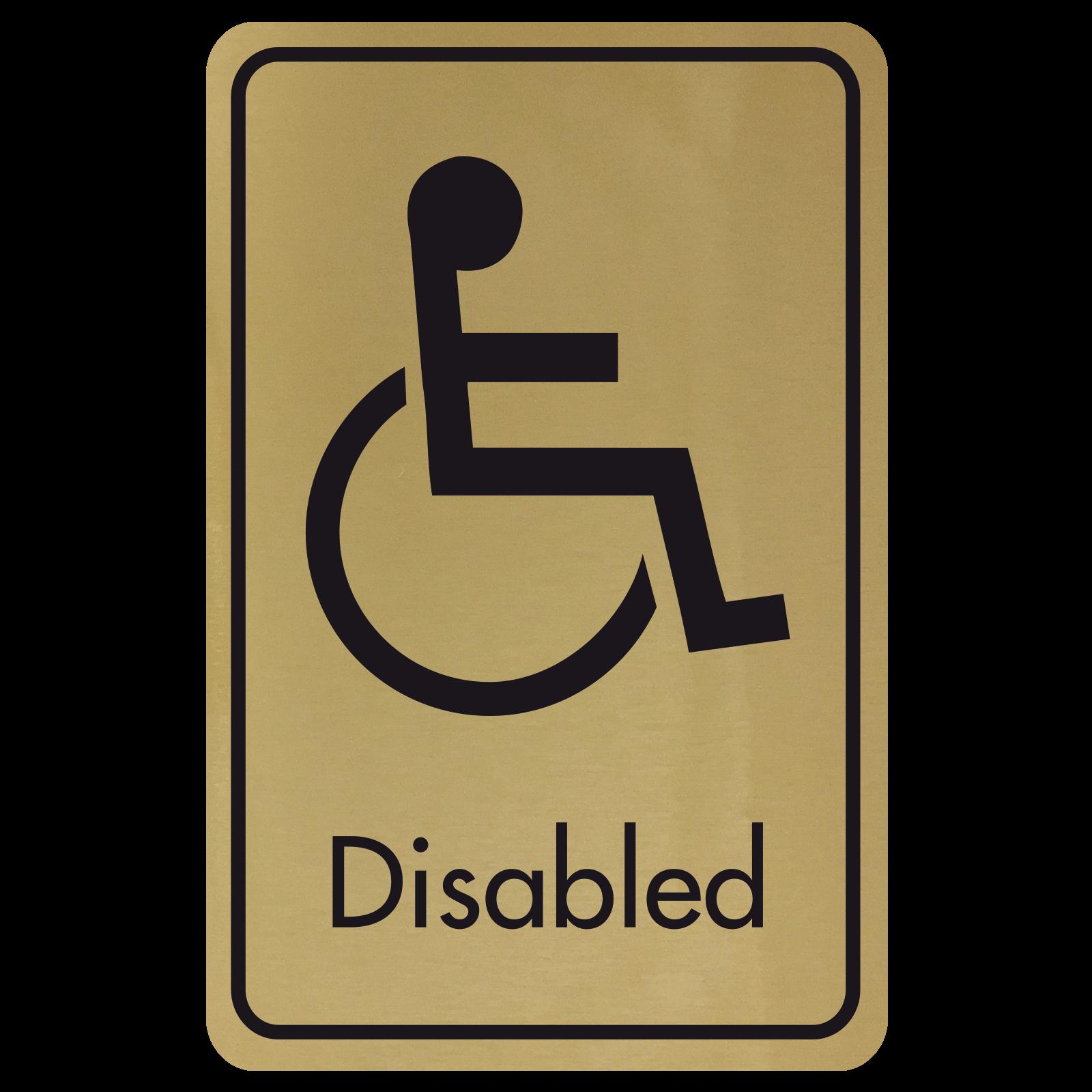 Large Disabled Door Sign - Black on Gold