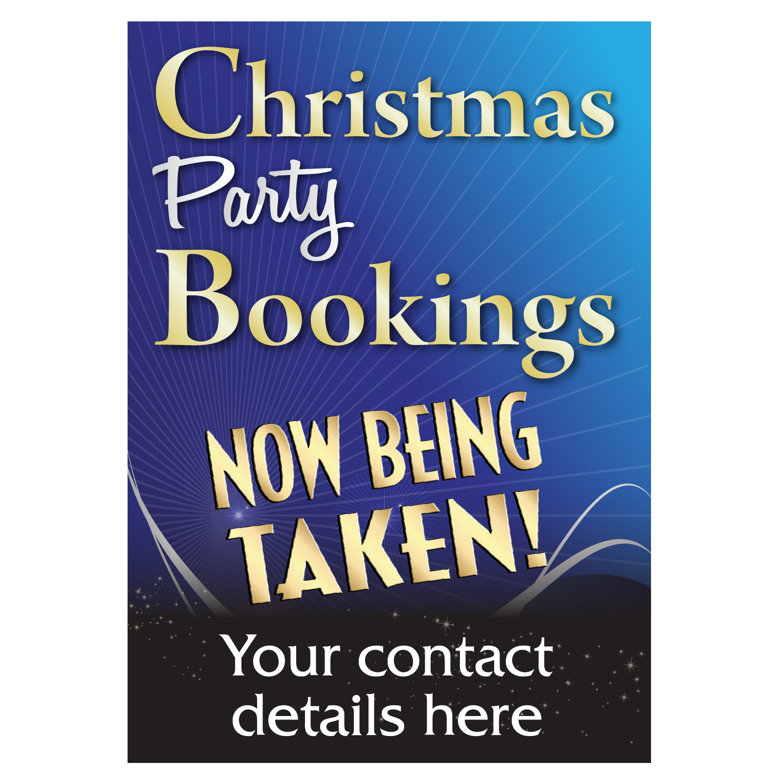 Personalised Christmas Party Bookings Poster | Advertise for Christmas | POS