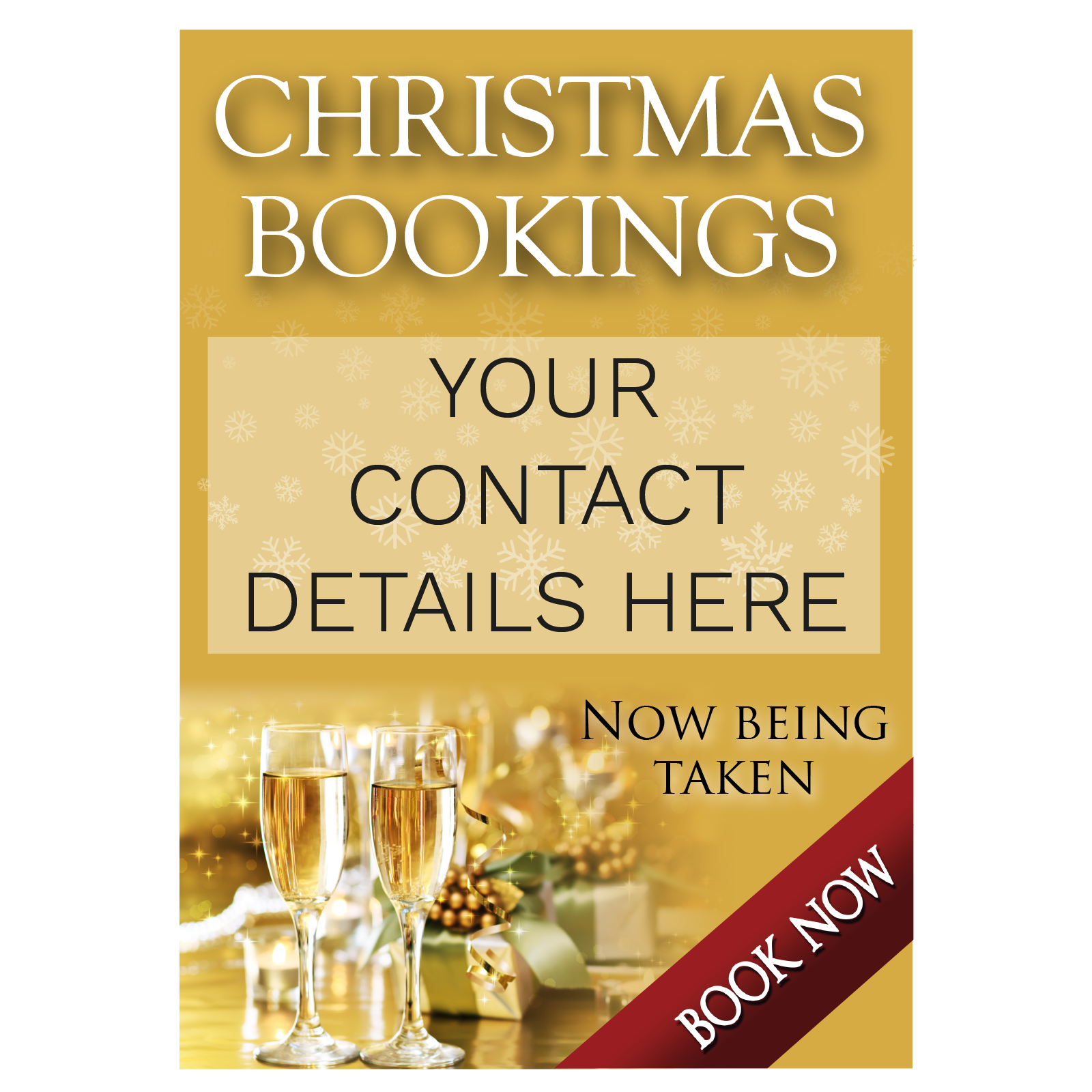 Book Now Christmas Party Poster | Gold | Advertise for Christmas