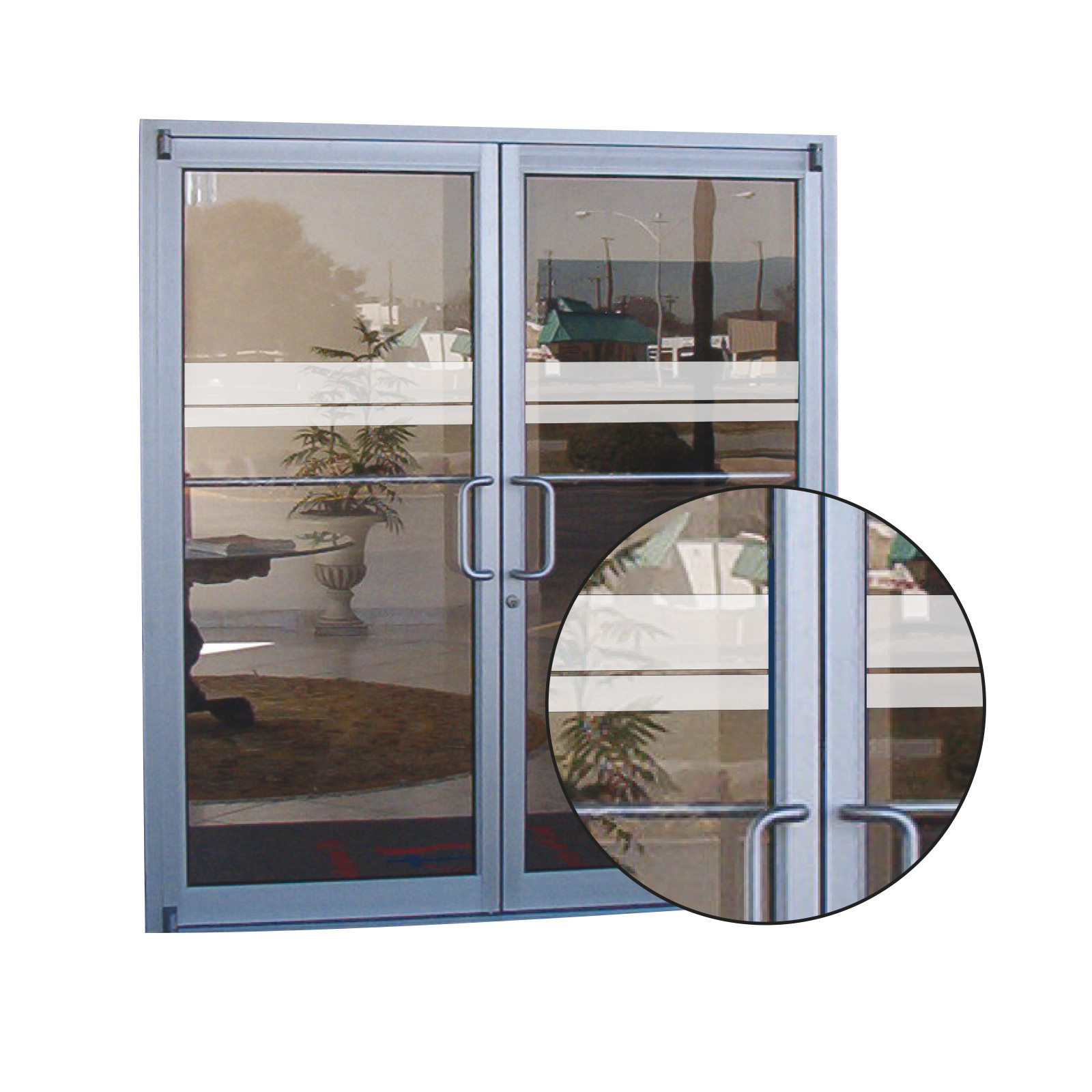 Glass patio door frosted safety decals