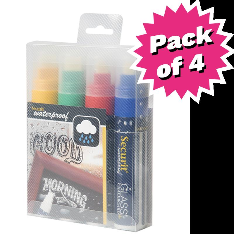 Assorted Colour Waterproof Liquid Chalk Pens  - Pack of 4 - Large 7-15mm Nib