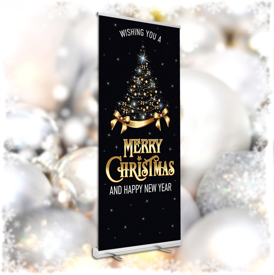 Wishing you a very Merry Christmas to all our guests roller banner. 850x2000mm
