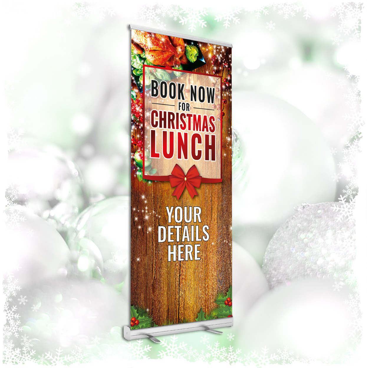 Personalised Book Now for Christmas Lunch roller banner. 850x2000mm