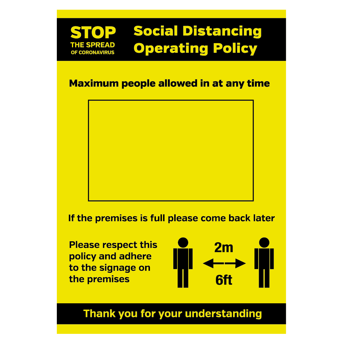 Social Distancing Operation Policy maxiumum people allowed in at any time sign