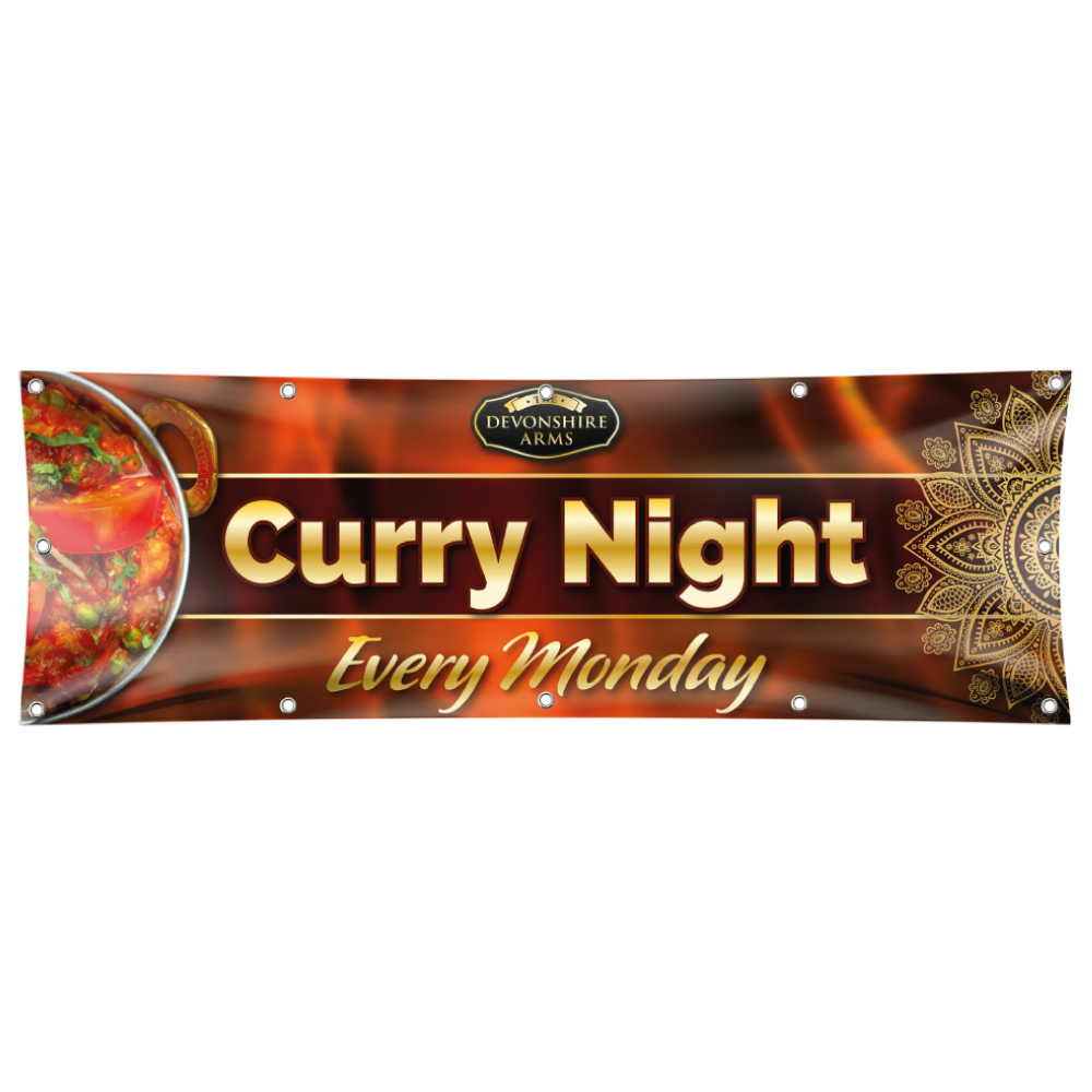 Personalised PVC Banner Pub Banner Curry Night Banner  Pub Advertising Banner