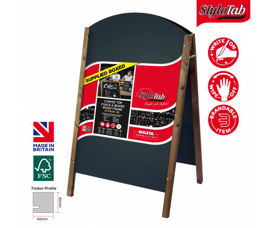 Curved Top Wood Framed Chalkboard Pavement A-Boards