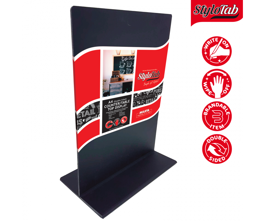 Double Sided Black Acrylic Freestanding Tabletop Blackboards. Available in A5 & A4 size