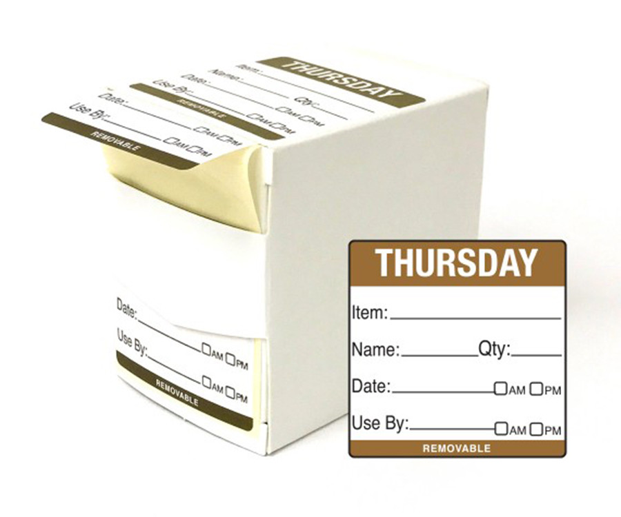 Thursday Day Dot Food Labels - 50x50mm