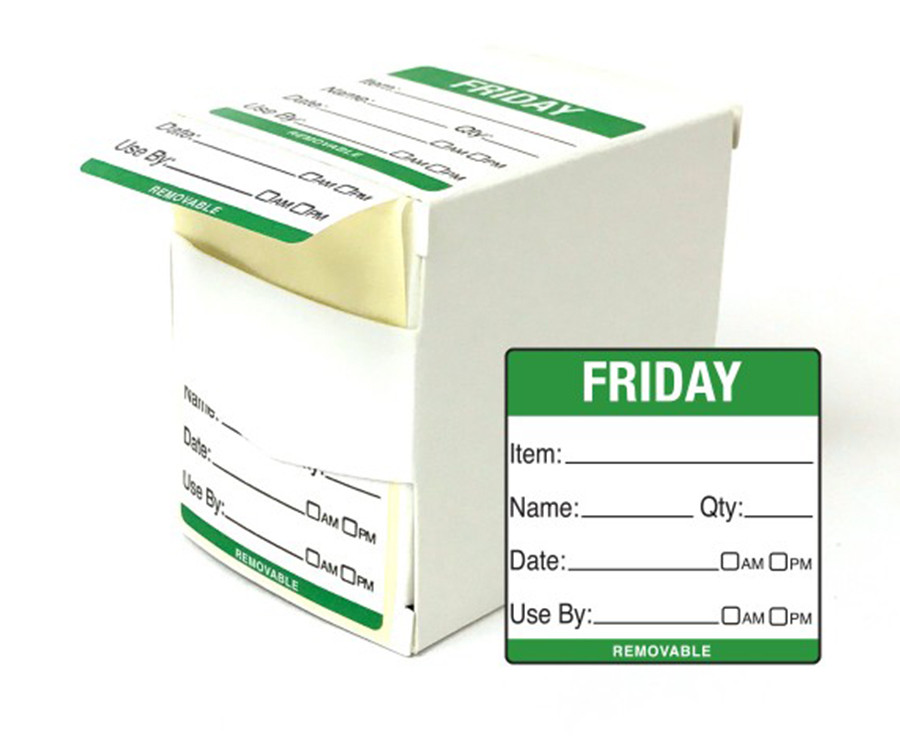 Friday Day Dot Food Labels - 50x50mm