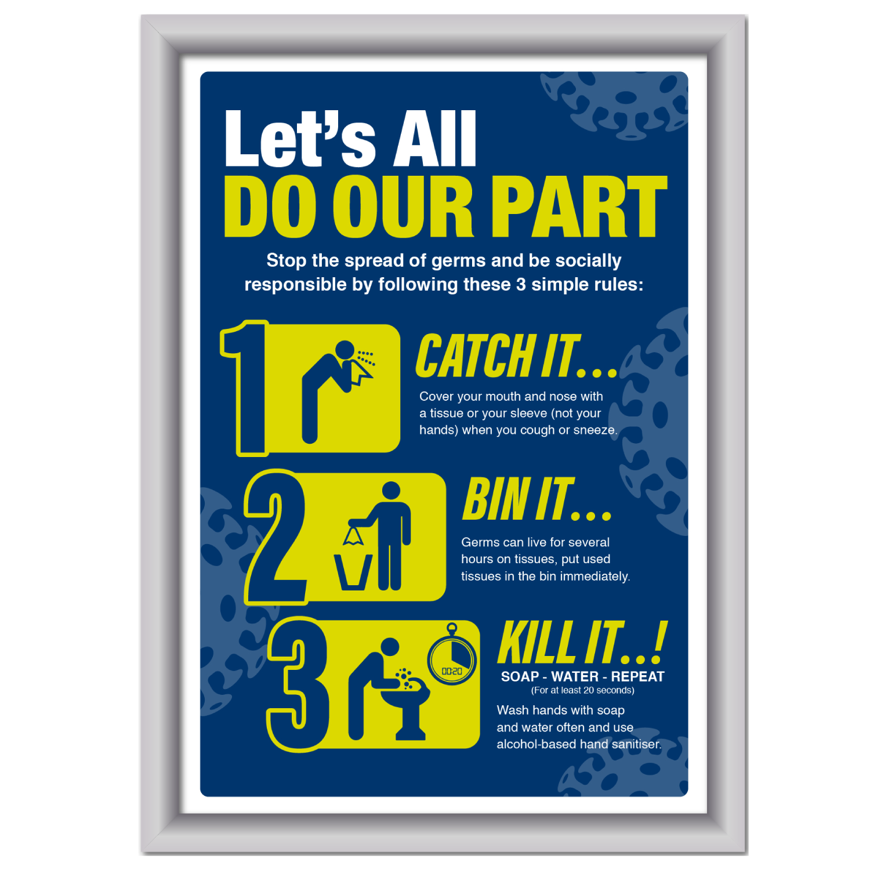 Framed Catch it, kill it, bin it Poster