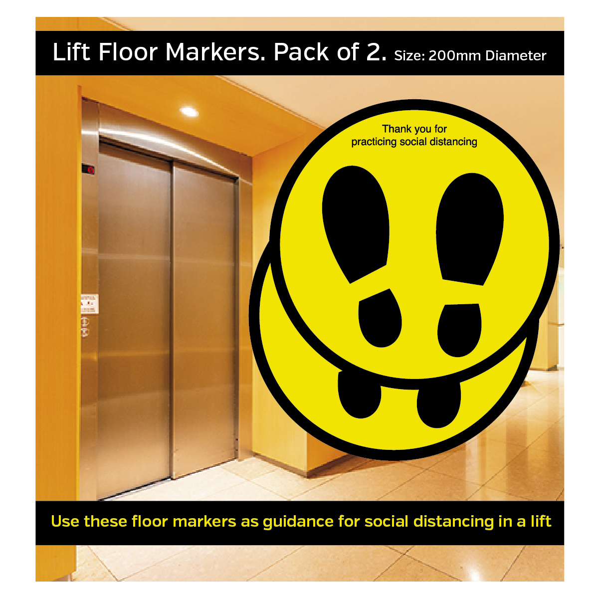 Lift Social Distancing Floor Markers. Pack of 2