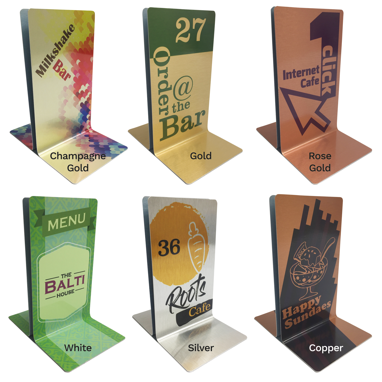 Personalised Numbered Metal Menu Holders - Single Channel Holder