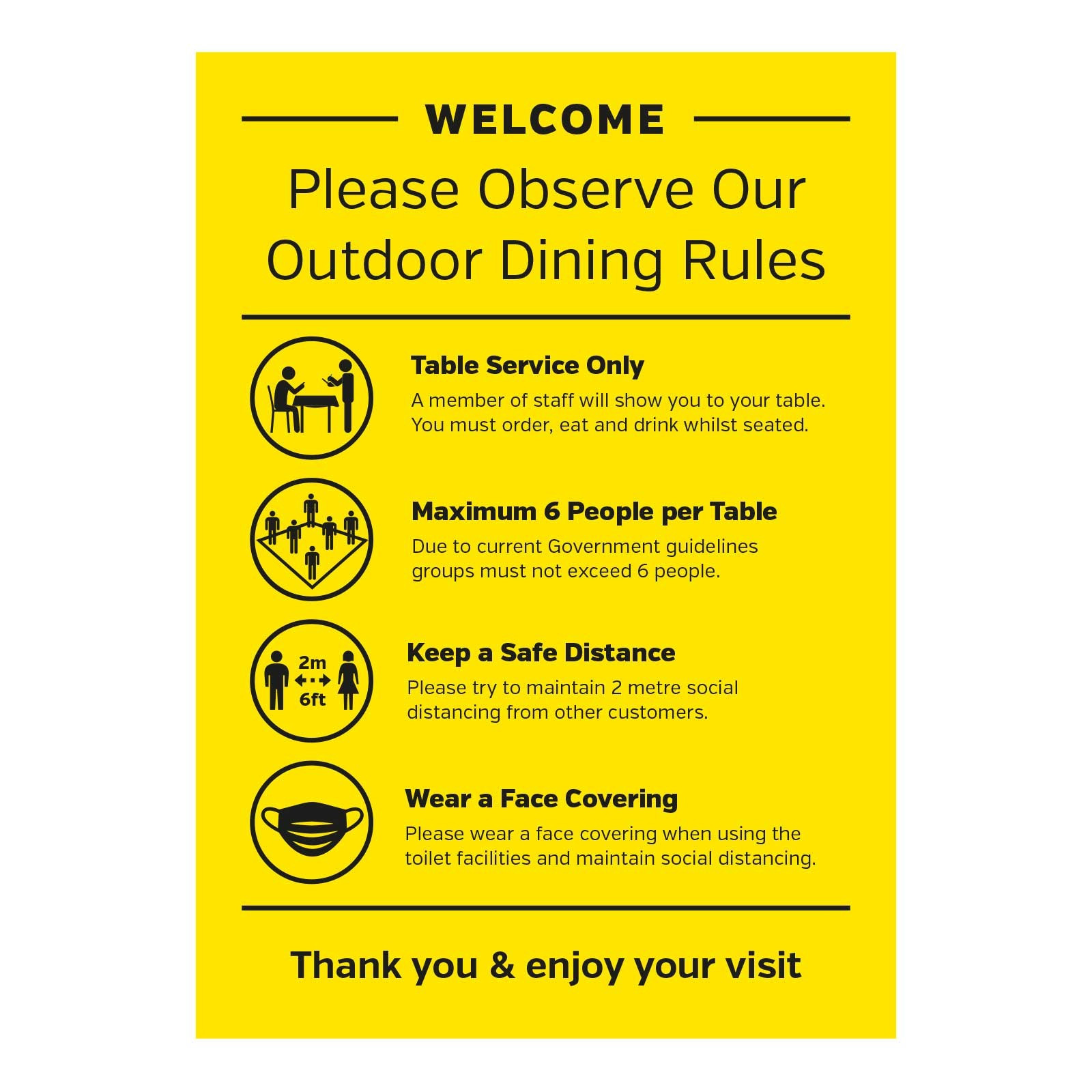 Outdoor Dining - Welcome please observe our outdoor dining rules